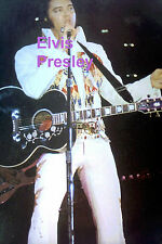 ELVIS PRESLEY IN AMERICAN EAGLE SUIT W/ SCARF & GUITAR CONCERT TOUR PHOTO CANDID