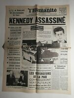 N398 La Une Du Journal L'humanité 23 novembre 1963 Kennedy assassiné