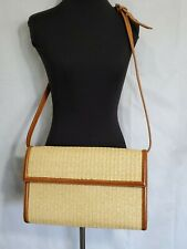 Ralph Lauren Wicker and Leather Purse Adjustable Strap Crossbody Pockets Snaps