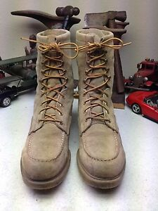 VINTAGE USA WOLVERINE BROWN SUEDE LEATHER PACKER CHORE DESERT SAND BOOTS 12 D