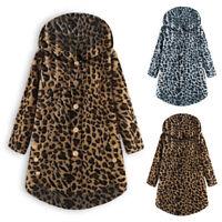 ZANZEA Women Leopard Print Jacket Coat Hoodies Hooded Asymmetrical Overcoat Plus
