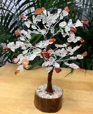 "8"" Clear Quartz Carnelian Tree Gemstone Crystal Gem Tree Feng Shui Luck Gift."
