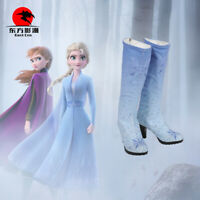 DFYM Elsa Anime Queen Cosplay Princess Costume Blue Snow Shoes Boots Party Kids