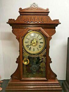 E.N. Welch  Walnut Kitchen Shelf CLOCK  TIME/STRIKE WITH ALARM WORKING KEY-WIND