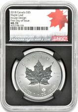 2018 $5 CANADA SILVER MAPLE LEAF-INCUSE DESIGN-NGC MS 70-FDOI-30TH ANNIVERSARY
