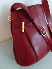 Longchamp Roseau Red Leather Cross Body Tote Bag Shoulder Purse Made in France