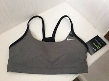NIKE FAVORITES GREY DRI-FIT BRA, MINIMAL DESIGN, LIGHT SUPPORT, SIZE S, BNWTS