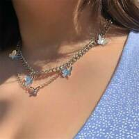 Double Layer Gold Butterfly Necklace Clavicle Chain Choker Summer Women Jewelry