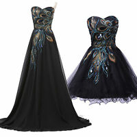 Peacock Maxi/Short Evening Formal Party Ball Gown Prom Bridesmaid Dress Size 18
