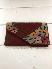 1930's Vintage Antique Austrian Petite Point Embroidered Bag Purse Handbag