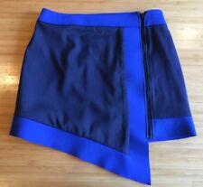 sass & bide Two Tone Blue Scuba Neoprene Rubber Swim Team Micro Mini Skirt AUS 8