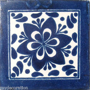 C#009) 9 MEXICAN TILES CERAMIC HAND MADE SPANISH INFLUENCE TALAVERA MOSAIC ART