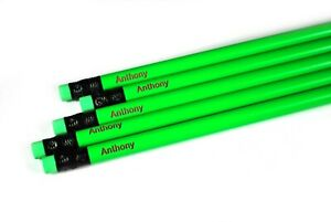 Personalized 14 Neon Green Pencils