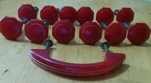 Art Deco BAKELITE red draw knobs pull RARE !