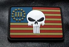 Punisher Three 3% Percenter Flag PVC Rubber Morale Hook PVC Patch