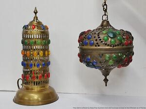 Antique Bohemian Austrian Pierced Brass Multi-color Hanging Lamp Lantern Light
