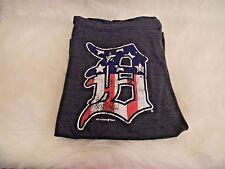 DETROIT TIGERS T-Shirt Women's Sz L Old English D American Flag Distressed July