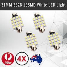 4x 31mm 16LED 3528 SMD Car Festoon Interior Roof Dome Light Bulbs Xenon White