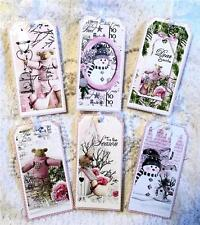 Christmas~Shabby Sweet~6 Large Hang Tags~Scrapbooking~Cards~#146~judysjemscrafts