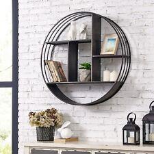 Wall Shelf Circular metal Gray Artwork Abtract Metallic pewter Care Decoration