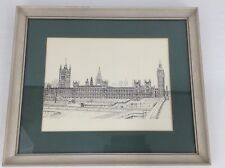 House of Parliament 1970's Framed Black & White Lithograph By Bernard Smith