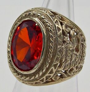 MEN RING RED ORANGE SAPPHIRE SILVER BRONZE SOLITAIRE GARUDA STONE GEMS SIZE 9