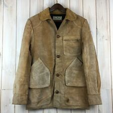 Vintage LL Bean in pelle scamosciata cuoio SHOOTING CACCIA Field Giacca Lavoratore made USA S/M