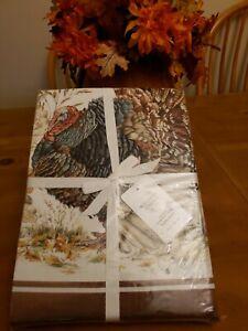 """NWT Williams Sonoma Autumn Plymouth Turkey Tablecloth 70""""x 126"""" Thanksgiving"""