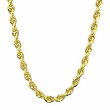 "10K Yellow Gold 5mm Wide Diamond Cut Rope Chain Necklace Lobster Clasp 20""- 32"""