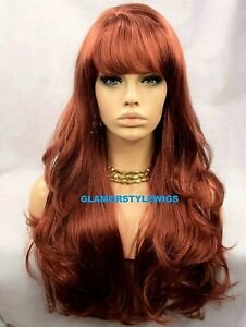 FULL WIG LONG LAYERED WAVY WITH BANGS BROWNISH AUBURN SIDE PART #T33.130 NWT