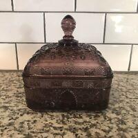 "Vintage Indiana Tiara Amethyst Purple Glass Square 6"" HONEY DISH CANDYBOX w/Lid"