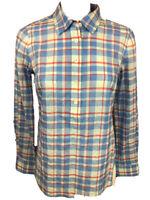 Vineyard Vines Women's 4 Blue Pink Plaid Long Sleeve Button Roll Tab Shirt (D22)