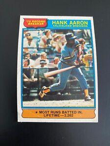1976 OPC O-Pee-Chee Hank Aaron (Rare Blank Back)