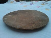 Primitive Antique Old Wooden Round  Plate