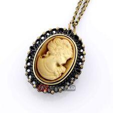 Gold Cameo Women Bronze Retro Pocket Watch Chain Quartz Necklace Pendant Gift UK