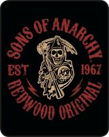 Queen Sons Of Anarchy Redwood Original Est. 1967 Faux Fur Blanket Warm Soft Full