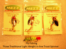 Fly Fishing 3 Traditional Light Weight in-line Trout Spinner Fly Lures