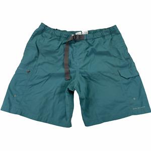"Columbia Omni Shade Swim Shorts Men XL 9"" Blue Belted Nylon AM4544 Zip Pocket"