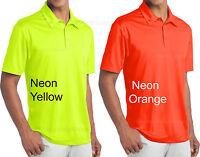 Mens NEON Polo Sport Shirt Moisture Wicking Golf XS S M L XL 2XL 3XL 4XL NEW