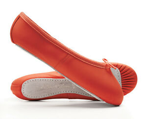 Red Leather Full Sole Ballet Shoes Childs & Adults All Sizes By Katz Dancewear