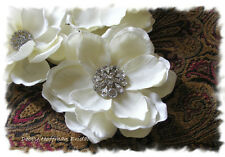 Ivory Magnolia Bridal Flower Fascinator or Brooch Pin with Rhinestone Center
