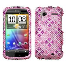 Pink Purple Plaid Crystal Diamond BLING Hard Case Phone Cover HTC Sensation 4G