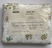 VINTAGE SEARS PERMA PREST FLORAL DAISY TWIN SHEET SET NEW 6820