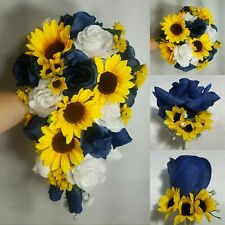 Navy Blue White Rose Sunflower Bridal Wedding Bouquet & Boutonniere