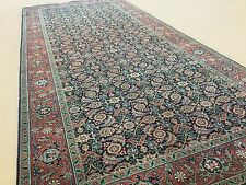 "4'.4"" X 9'.10"" Navy Rust Fine Geometric Oriental Rug Wide Runner Hand Knotted"