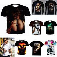 Men Summer 3D Big Hand Print Round Neck Short Sleeve Slim Fit T-shirt Hot Gift