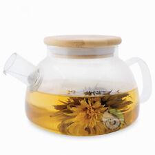 Théière en verre couvercle bois Escale Sensorielle thé infusion tisane