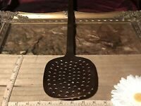 "Vintage French Copper Fish Slice Skimmer Spatula, All In One Utensil 20""x4 1/2"""
