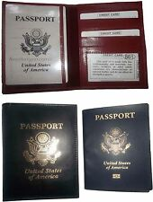 Lot of 2 New USA Leather passport cover,  wallet credit ID, passport case bnwt+*