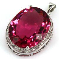 25x20mm Big Gemstone 22x18mm Pink Tourmaline, CZ Wedding Ladies Silver Pendant